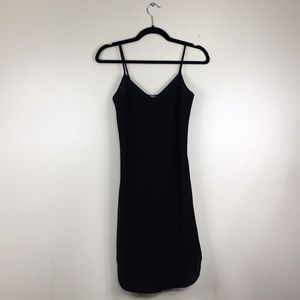 Vince Black Semi Sheer Spaghetti Strap Slip Dress